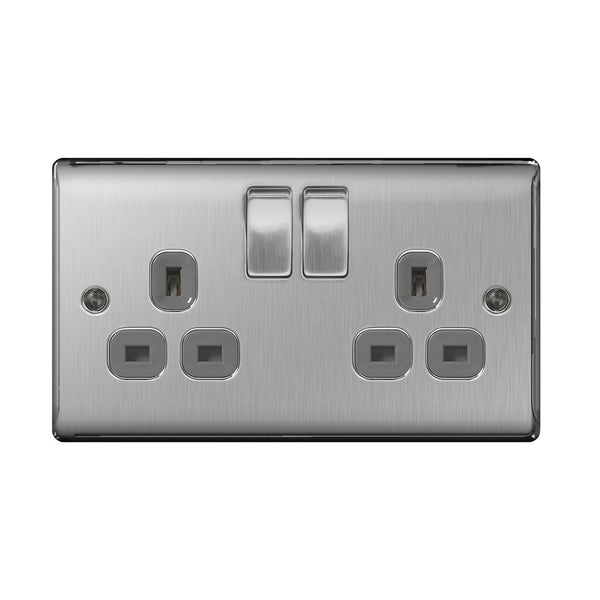 BG NBS22G Brushed Steel 2 Gang Plug Socket Switched Grey Insert - SND Electrical Ltd