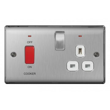 BG NBS70B Brushed Steel 45 Amp Cooker Unit with Switched Socket & Neon Indicator Black Insert