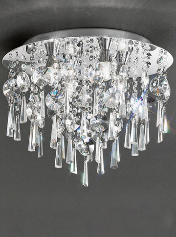 Franklite CF5719 400mm Flush Crystal Bathroom Light - (Small)