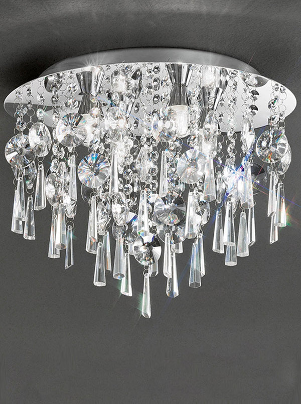 Franklite CF5719 400mm Flush Crystal Bathroom Light - (Small) - SND Electrical Ltd