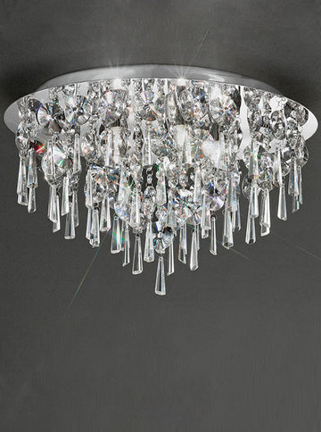 Franklite CF5720 500mm Flush Crystal Bathroom Light - (Large)