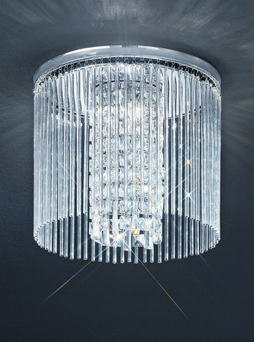 Franklite CF5727 350mm Flush Crystal Bathroom Light