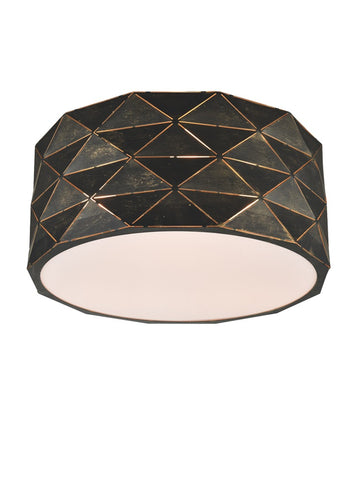 Franklite CF5770 Tangent Flush Ceiling Light (Black/Gold)