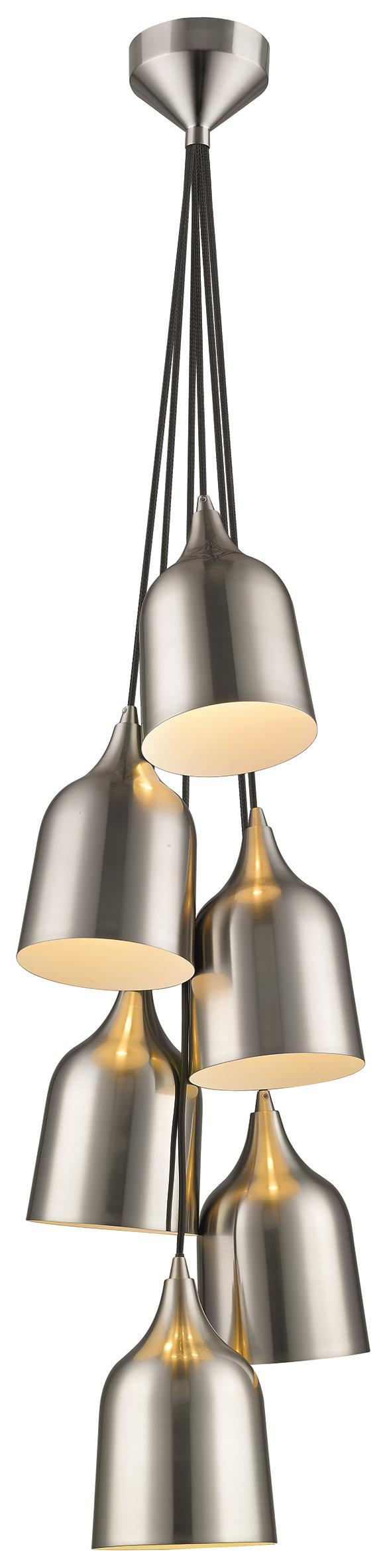 SND Lighting SND168 Craft 6 Light Multi Light Pendant Satin Nickel - SND Electrical Ltd