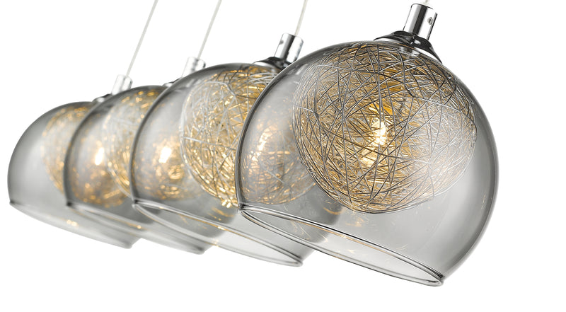 SND184 Eton 4 Light Bar Pendant Smoked Glass