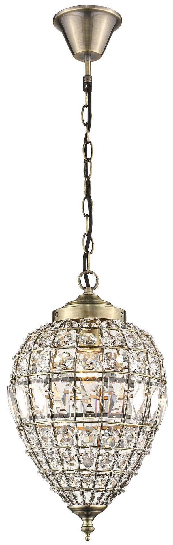 SND Lighting SND185 Fiona Single Pendant Antique Brass - SND Electrical Ltd