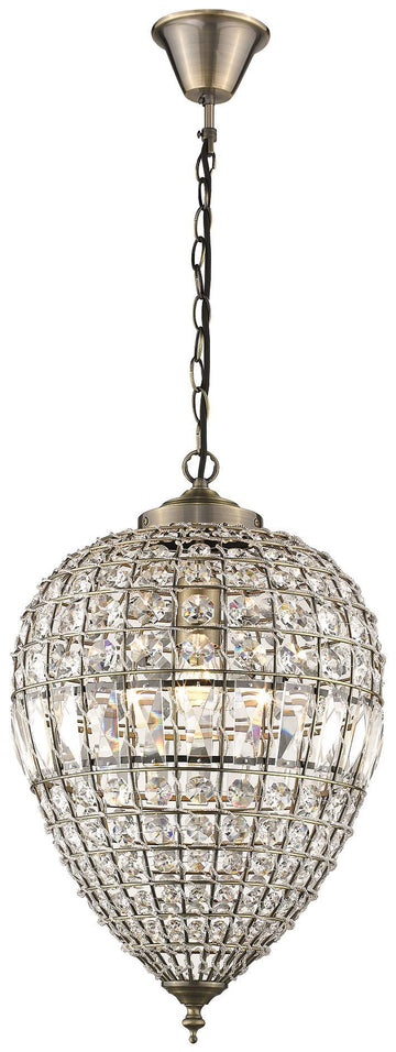 SND Lighting SND188 Fiona Single Pendant Antique Brass