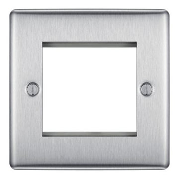BG NBSEMS2 Euro-Module Brushed Steel 2 Module Square Front Plate