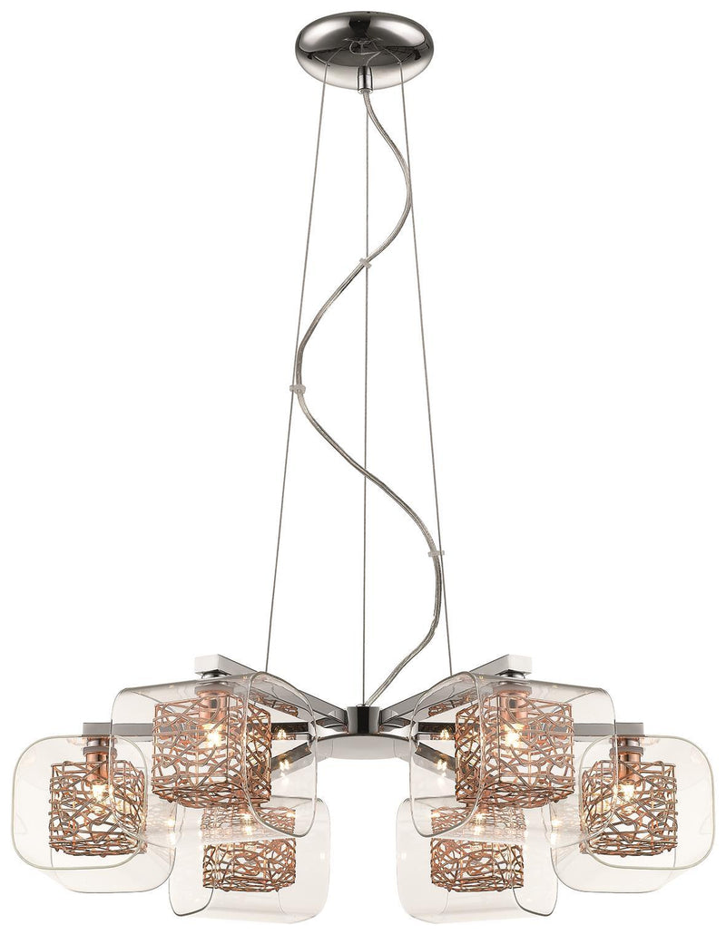 SND Lighting SND213 Paris 6 Light Suspended Ceiling Light Copper - SND Electrical Ltd
