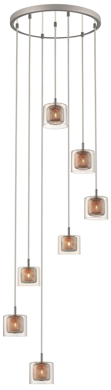 SND Lighting SND237 Luton 7 Light Multi Pendant Light Copper