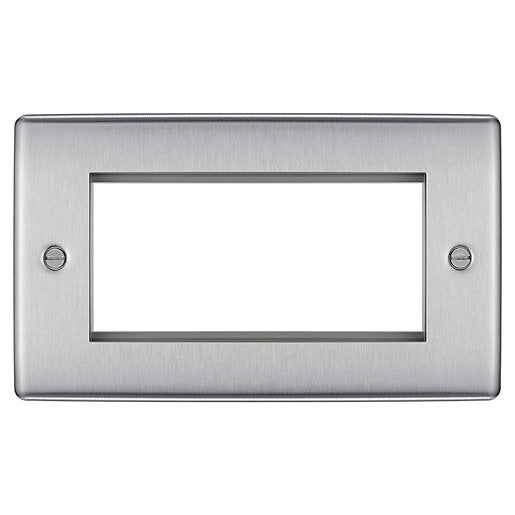 BG NBSEMR4 Euro-Module Brushed Steel 4 Module Rectangular Front Plate - SND Electrical Ltd