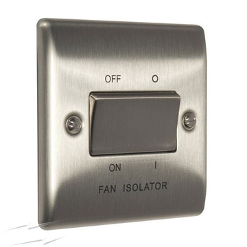 BG NBS15 Brushed Stainless Steel Triple Pole Fan Isolator Switch