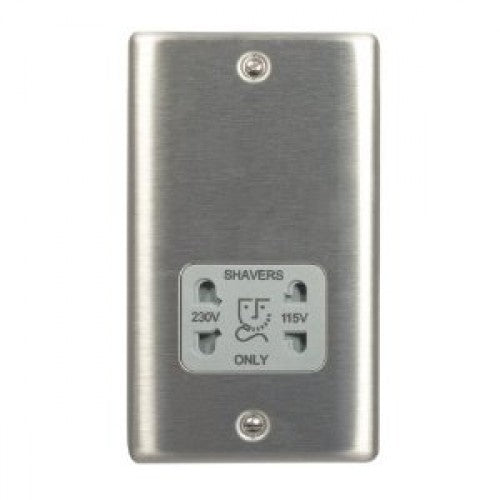BG NBS20G Brushed Steel Shaver Socket Dual Voltage 115v / 230v Grey Insert - SND Electrical Ltd