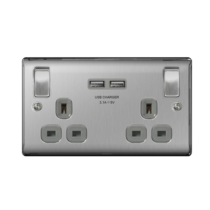 BG NBS22U3W Brushed Steel 2 Gang Socket with Grey Insert & 2 x USB 3.1A - SND Electrical Ltd