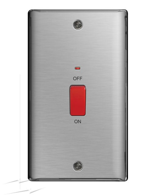 BG NBS72 Brushed Steel 45A Double Pole Vertical Switch With Neon Indicator - SND Electrical Ltd