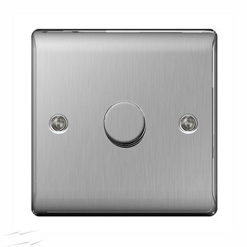 BG NBS81P Brushed Steel 1 Gang 2 Way 400w Dimmer