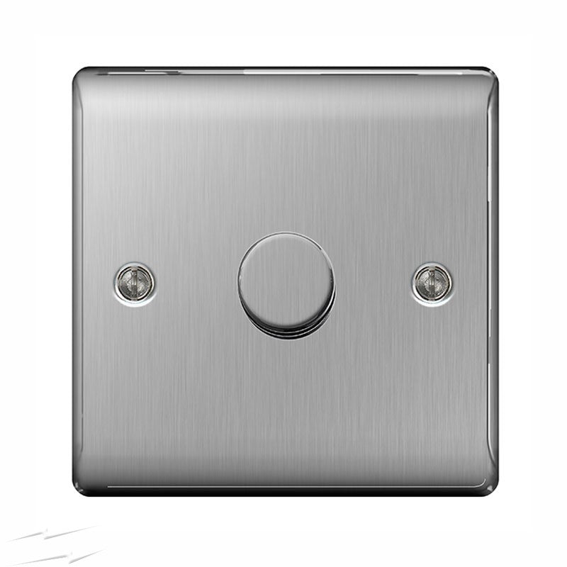 BG NBS81P Brushed Steel 1 Gang 2 Way 400w Dimmer - SND Electrical Ltd