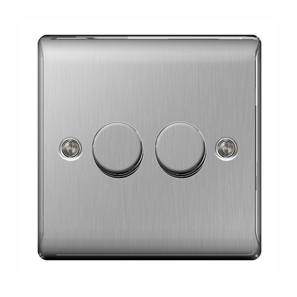 BG NBS82P Brushed Steel Metal 2 Gang 2 Way 400w Dimmer - SND Electrical Ltd