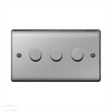 BG NBS83P Brushed Steel 3 Gang 2 Way 400w Dimmer