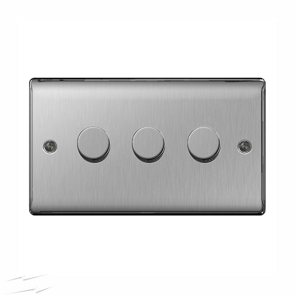 BG NBS83P Brushed Steel 3 Gang 2 Way 400w Dimmer - SND Electrical Ltd