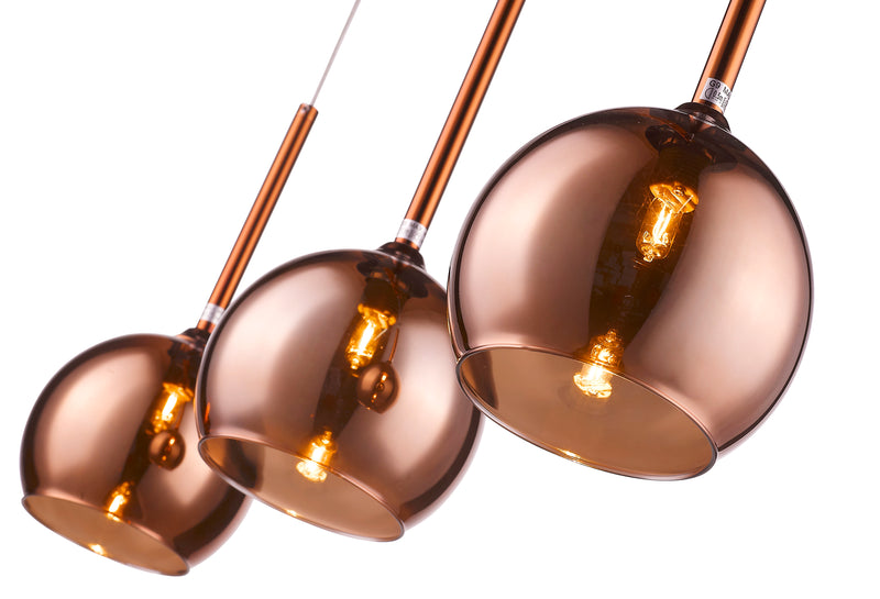 SND273 Poppy 3 Light Bar Pendant Copper