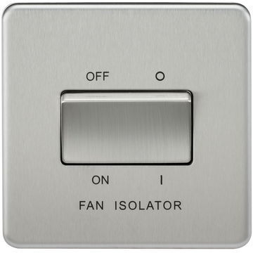 Screwless 10A 3 Pole Fan Isolator Switch Brushed Chrome