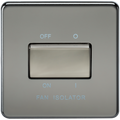 Screwless 10A 3 Pole Fan Isolator Switch Black Nickel
