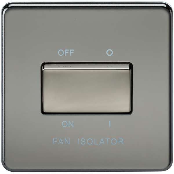 Screwless 10A 3 Pole Fan Isolator Switch Black Nickel - SND Electrical Ltd