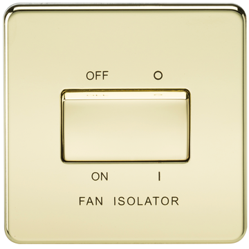 Screwless 10A 3 Pole Fan Isolator Switch Polished Brass