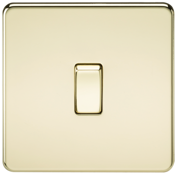 Screwless 10A 1G Intermediate Switch Polished Brass