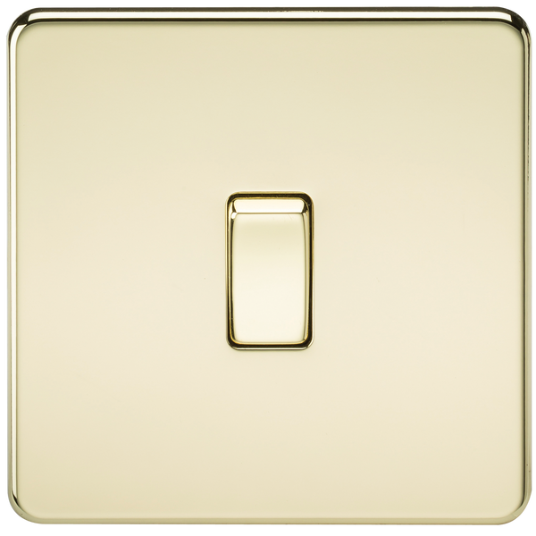 Knightsbridge SF1200PB Screwless 10A 1G Intermediate Switch Polished Brass - SND Electrical Ltd
