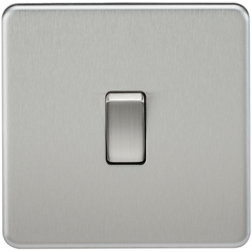 Screwless 10A 1G 2-Way Switch Brushed Chrome MLA