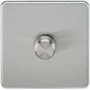 Knightsbridge SF2181BC Screwless 1G 2-way 10-200W (5-150W LED) Trailing Edge Dimmer Brushed Chrome - SND Electrical Ltd