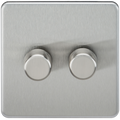 Knightsbridge SF2182BC Screwless 2G 2-way 10-200W (5-150W LED) Trailing Edge Dimmer Brushed Chrome