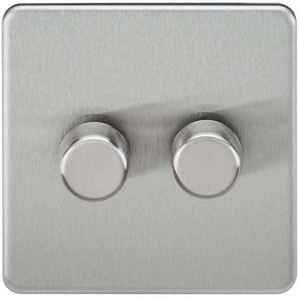 Knightsbridge SF2182BC Screwless 2G 2-way 10-200W (5-150W LED) Trailing Edge Dimmer Brushed Chrome - SND Electrical Ltd