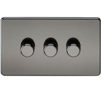 Screwless 3G 2-way 10-200W (5-150W LED) Trailing Edge Dimmer Black Nickel - SND Electrical Ltd