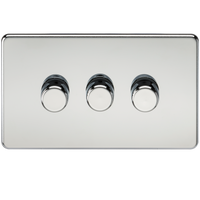 Knightsbridge SF2183PC Screwless 3G 2-way 10-200W (5-150W LED) Trailing Edge Dimmer Polished Chrome - SND Electrical Ltd