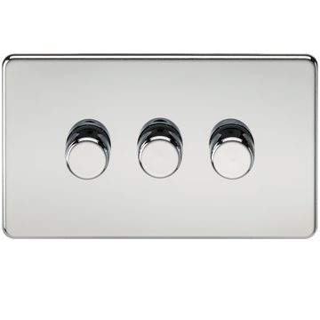 Screwless 3G 2-way 10-200W (5-150W LED) Trailing Edge Dimmer Polished Chrome