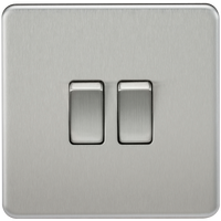 Knightsbridge SF3000BC Screwless 10A 2G 2-Way Switch Brushed Chrome - SND Electrical Ltd