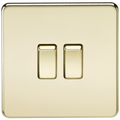 Screwless 10A 2G 2-Way Switch Polished Brass