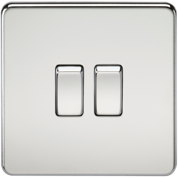 Screwless 10A 2G 2-Way Switch Polished Chrome