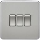 Knightsbridge SF4000BC Screwless 10A 3G 2-Way Switch Brushed Chrome - SND Electrical Ltd