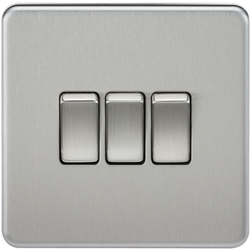 Screwless 10A 3G 2-Way Switch Brushed Chrome