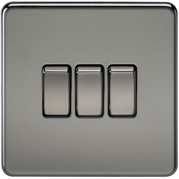 Screwless 10A 3G 2-Way Switch Black Nickel