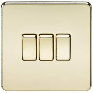 Screwless 10A 3G 2-Way Switch Polished Brass
