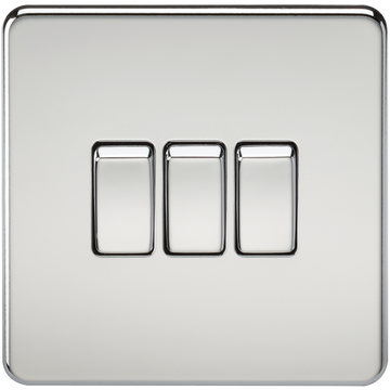 Screwless 10A 3G 2-Way Switch Polished Chrome