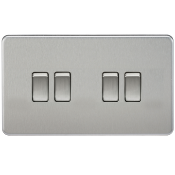 Screwless 10A 4G 2-Way Switch Brushed Chrome
