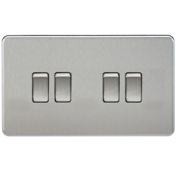 Knightsbridge SF4100BC Screwless 10A 4G 2-Way Switch Brushed Chrome - SND Electrical Ltd