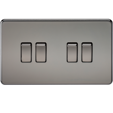 Screwless 10A 4G 2-Way Switch Black Nickel