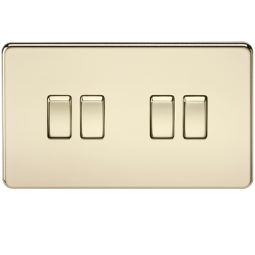 Screwless 10A 4G 2-Way Switch Polished Brass